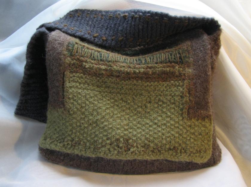 barley fields and forest. handmade messenger bag.